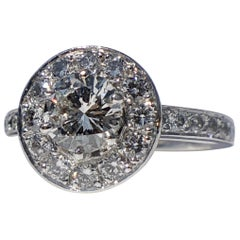 Round Brilliant Cut Diamond Halo Engagement 18k White Gold 1.20ct Ring