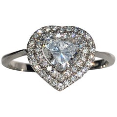 White Heart Brilliant Cut Diamond Double Halo 18 Karat Gold Engagement Ring