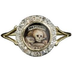 Georgian Memento Mori Diamond Skull Ring 18ct Gold Dated 1813 Boxed