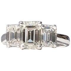 Emerald Cut 3 Stone Trilogy White Diamond Engagement  18k 2.80cts TW Ring