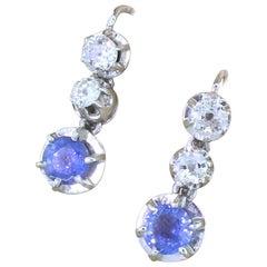 Art Deco Sapphire and Carat Old Cut Diamond Drop Earrings