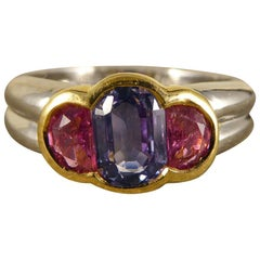 Pink and Blue Sapphire Ring Set in Platinum and 18 Carat Gold