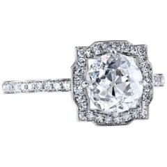 GIA Certified 1.66 ct H/SI2 Old European Cut Diamond Halo Platinum Art Deco Ring
