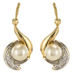 French 1960s Cultured Pearl Antique Sleepers Earrings