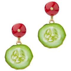 18 Carat Yellow Gold Vermeil, Brass, Jade and Enamel 'High Ball' Earrings