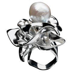 Nathalie Jean Contemporary Pearl Sterling Silver Cocktail Ring