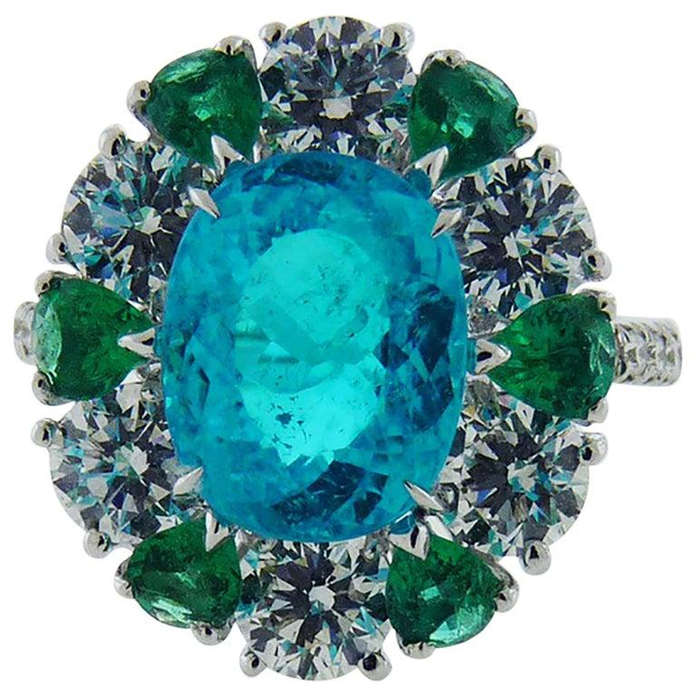 3.40 Carat Paraiba Tourmaline Diamond Emerald Cocktail Ring