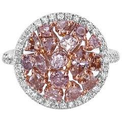 2.18 Carat Natural Pink Diamond Cluster Ring