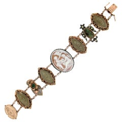 Cameo 9 Karat Yellow Gold Diamonds Lava Retro Bracelet