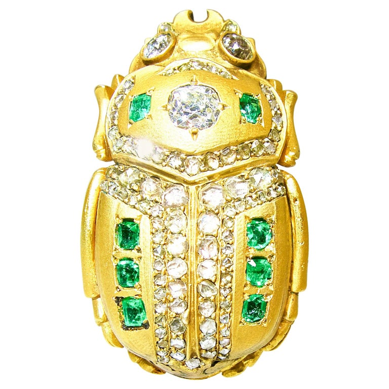 Antique Scarab Brooch with Emeralds and Diamonds, French, circa 1860