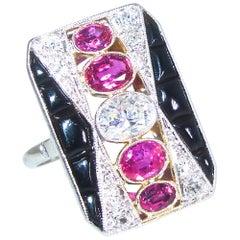 Art Deco Diamond, Ruby and Onyx Ring, circa 1920