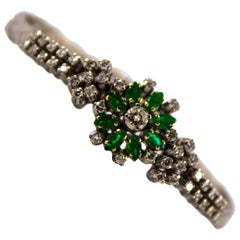 Renaissance 1.60 Carat Emerald 1.50 Carat White Diamond White Gold Bracelet