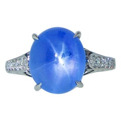 Natural Unheated Star Sapphire and Diamond Ring, Pierre/Famille