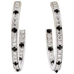 Cartier Onyx, Diamond and 18 Karat White Gold Inside Out Hoop Earrings