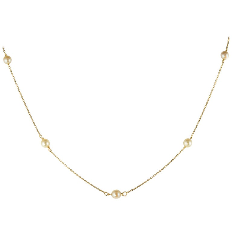 Modern Cultured Pearls 18 Karat Yellow Gold Chain Necklace
