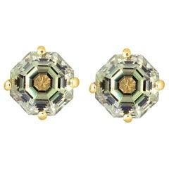 2.09 Carat Color Changing Diaspore Hexagon Stud Earrings