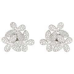 Graff Butterfly Cluster Diamond and 18 Karat White Gold Earrings