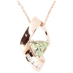 1.20 Carat Trillion Shaped Color Changing Diaspore and Diamond Pendant