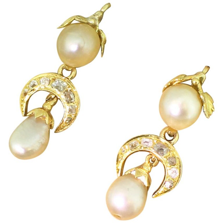 Victorian Natural Pearl and Old Cut Diamond Gold Drop Earrings