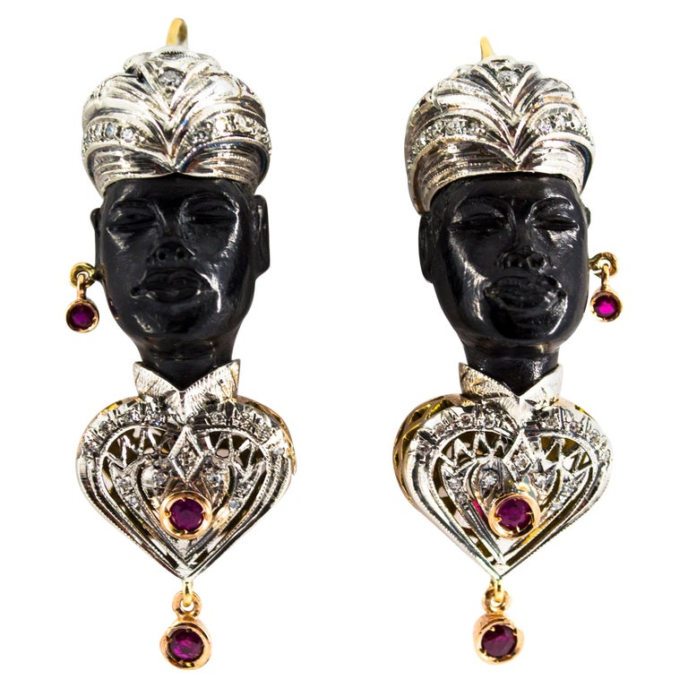 "2.30 Carat White Diamond Ruby Ebony Yellow Gold ""Moor of Venice"" Earrings"