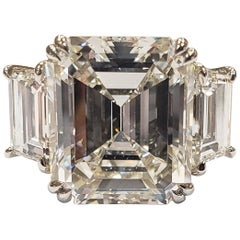 GIA Certified 10.29 Carat Emerald Cut Diamond Ring with Side Stones I/VS1