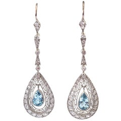 Aquamarine Diamond Platinum Earrings
