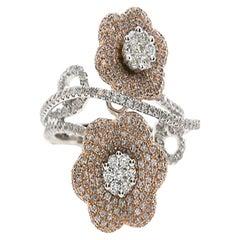 1.23 Carat Natural Pink Diamond Pave Floral Ring