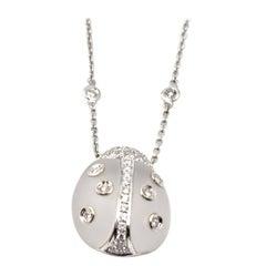 18 Karat White Gold and Quartz Lady Bug Diamonds by The Yard Necklace