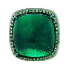 17.76 Carat Cabochon Emerald Cocktail Ring