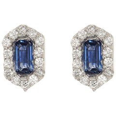 Hexagon Sapphire and Diamond Earrings