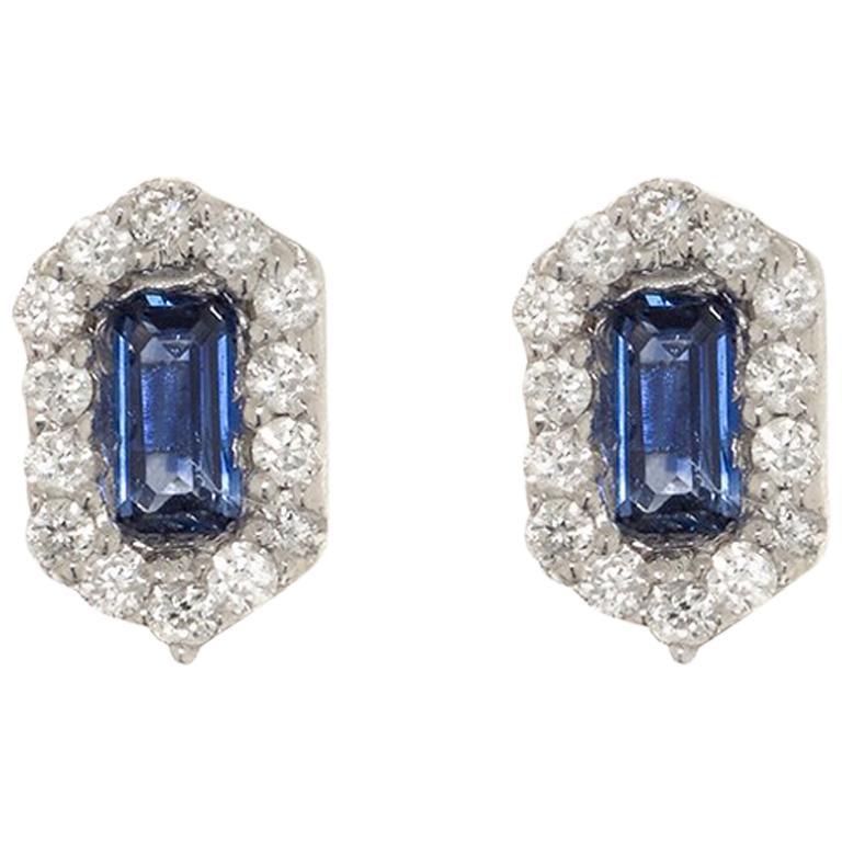 Hexagon Sapphire and Diamond Earrings