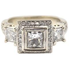 0.75 Carat Princess Cut Diamond 18 Karat White Gold Engagement Ring