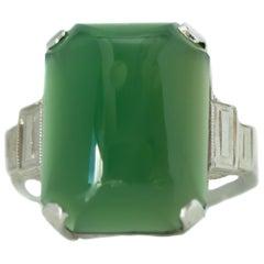 1920s Art Deco Jade, Diamond and 14 Karat White Gold Ring