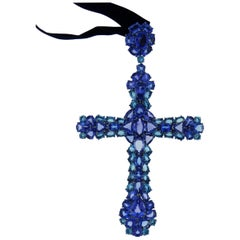 Tanzanite Aquamarine Sapphire 18 Karat Gold Cross Necklace
