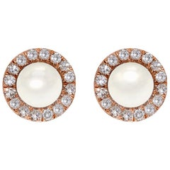Mother-of-Pearl and Diamond Earrings