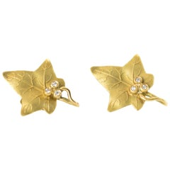 1940s Diamond and 18 Karat Yellow Gold Maple Leaf Earrings