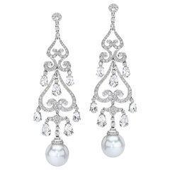 Autore South Sea Pearl Chandelier Earrings with Diamonds and 9.30ct. White Topaz