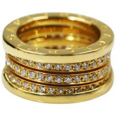 Bvlgari 18 Karat Yellow Gold B Zero1 4 Band Pave Diamond Ring
