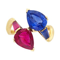 Gold, Ruby and Sapphire Crossover Ring