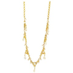 Solid 14 Karat Yellow Gold Antique Pearl Necklace 6.5g