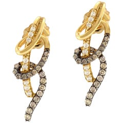 14 Karat Yellow Gold Genuine Diamond Earrings 2.3 grams
