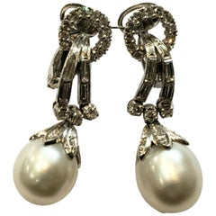 Platinum, Diamond and South Sea Pearl Drop Earrings