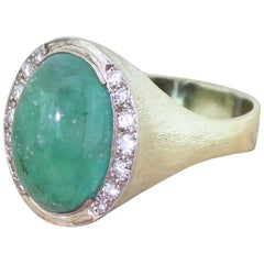 Retro 5.94 Carat Cabochon Emerald and Diamond 14 Karat Gold Ring
