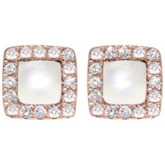 Square Mother-of-Pearl and Diamond Earrings