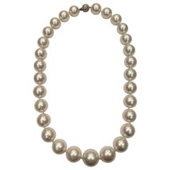 AAA Quality White South Sea Pearl Necklace with White Gold Clasp