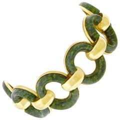 1950s Jade Set Gold Bracelet