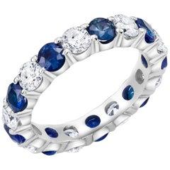 Platinum Diamond Sapphire Prong Set Eternity Ring Carat Total Weight 3.50