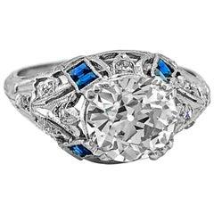 Art Deco 1.74 Carat Diamond and Sapphire Antique Engagement Ring Platinum