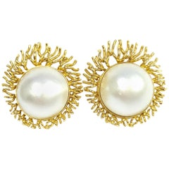 Vintage South Sea Mabe Pearl and Yellow Gold Sunburst Clip-On Earrings