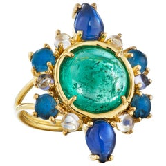 Daria de Koning Emerald, Sapphire, Moonstone, Iolite and Apatite Ring